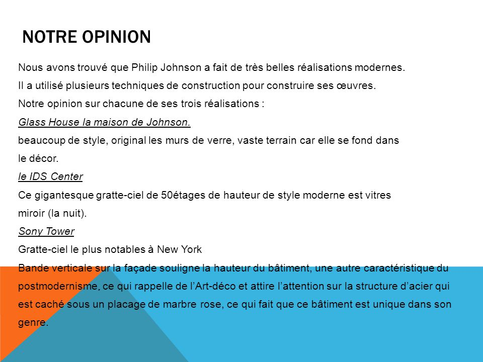 Notre opinion