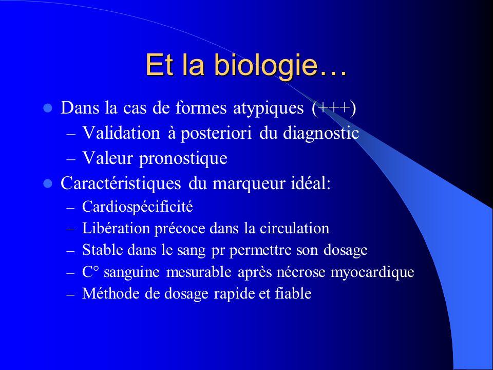 Et la biologie… Dans la cas de formes atypiques (+++)