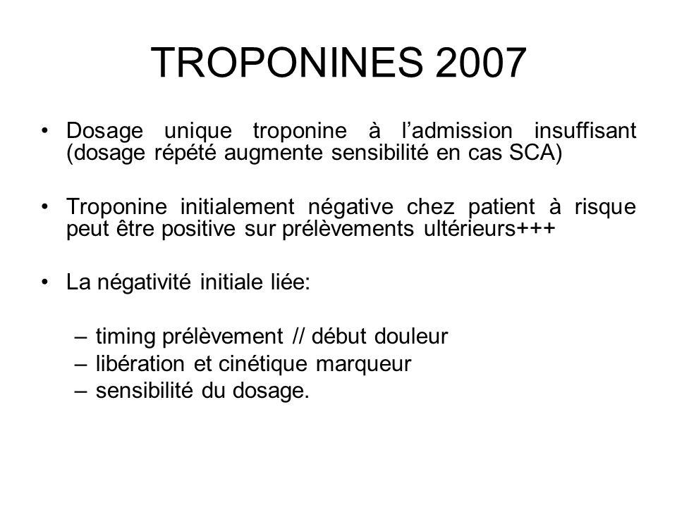 TROPONINES 2007 Dosage unique troponine à l'admission insuffisant (dosage répété augmente sensibilité en cas SCA)