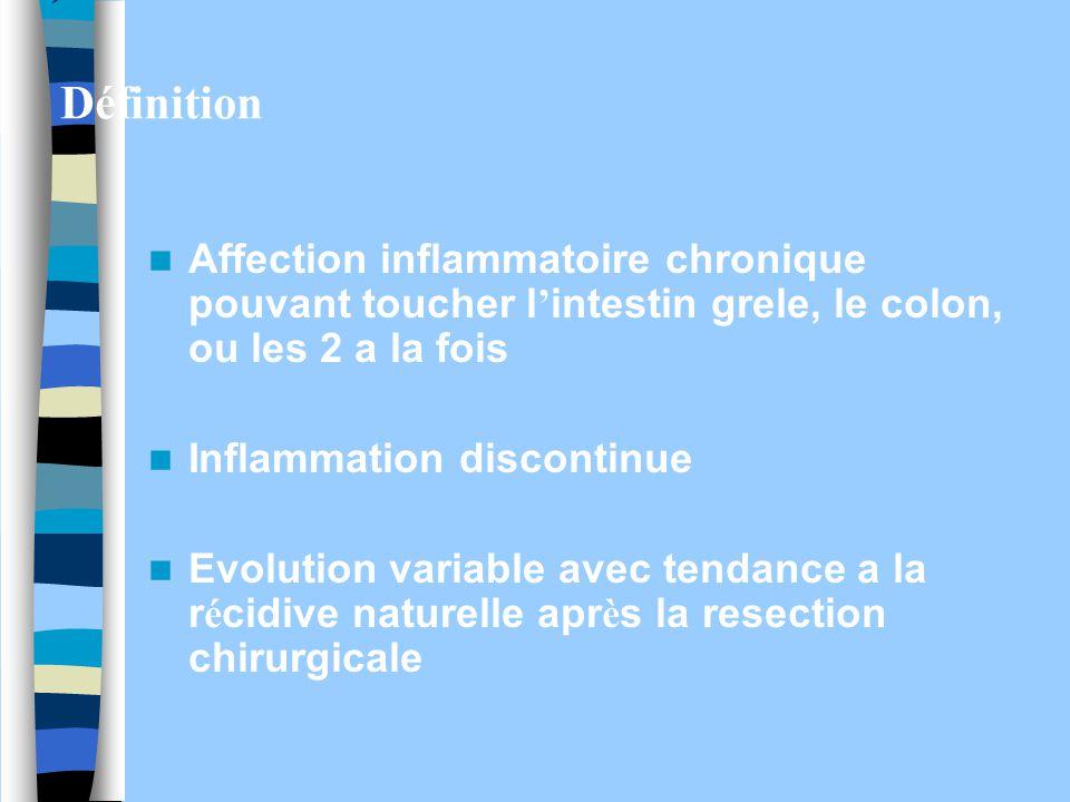 Définition Affection inflammatoire chronique pouvant toucher l'intestin grele, le colon, ou les 2 a la fois.