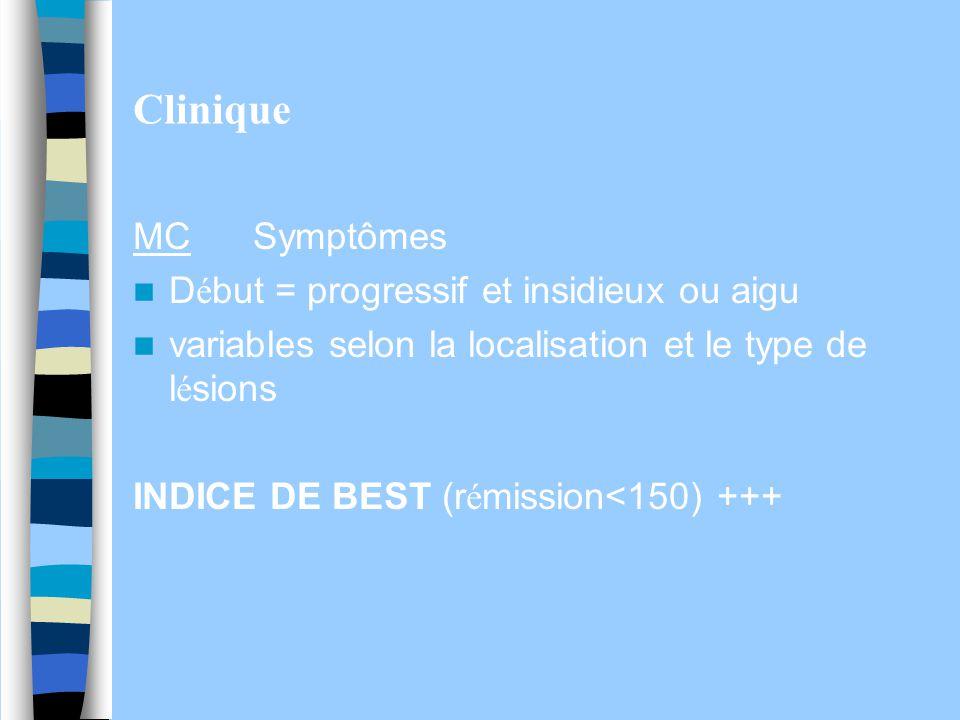 Clinique MC Symptômes Début = progressif et insidieux ou aigu