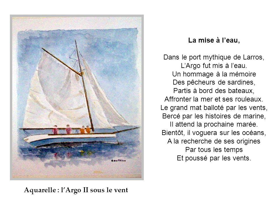 Aquarelle : l'Argo II sous le vent