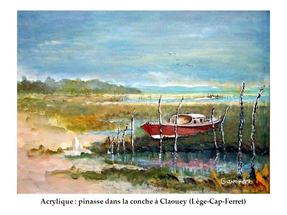 Acrylique : pinasse dans la conche à Claouey (Lège-Cap-Ferret)
