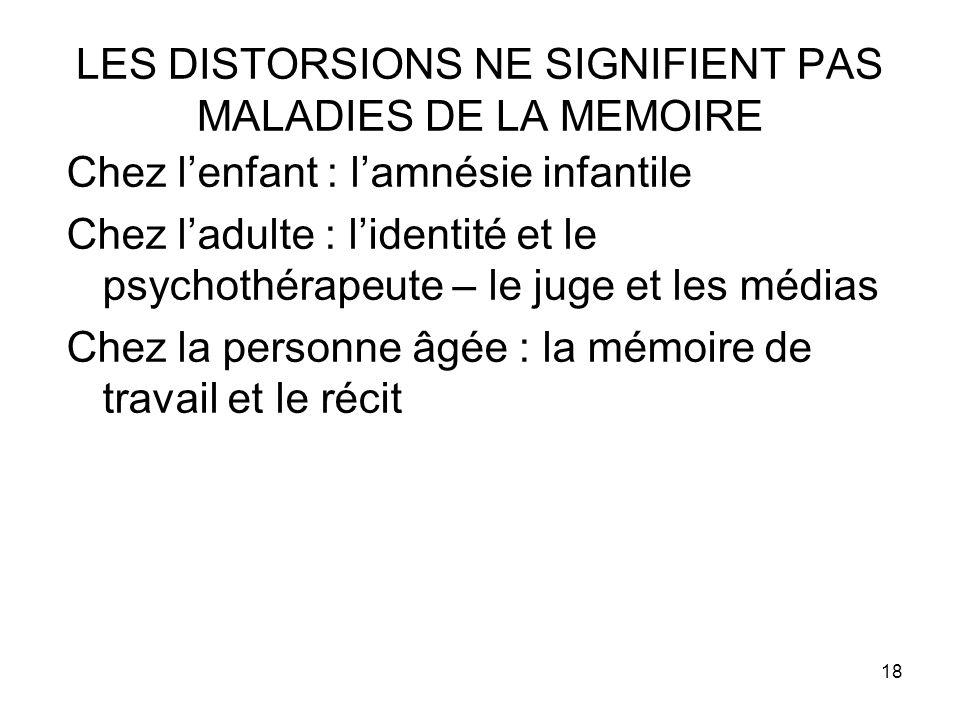 LES DISTORSIONS NE SIGNIFIENT PAS MALADIES DE LA MEMOIRE