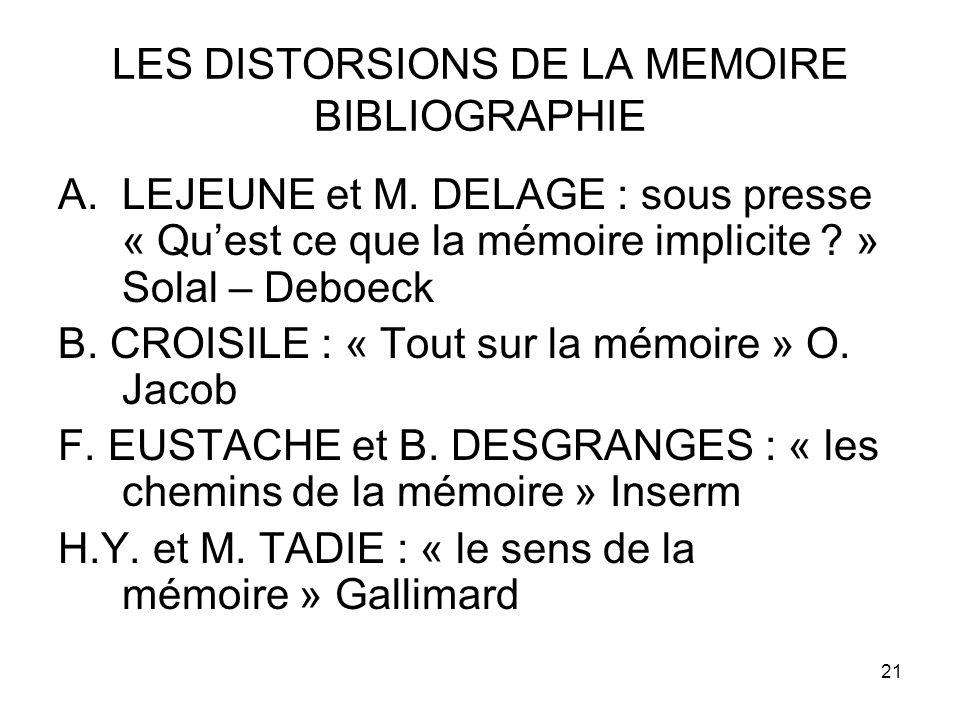 LES DISTORSIONS DE LA MEMOIRE BIBLIOGRAPHIE