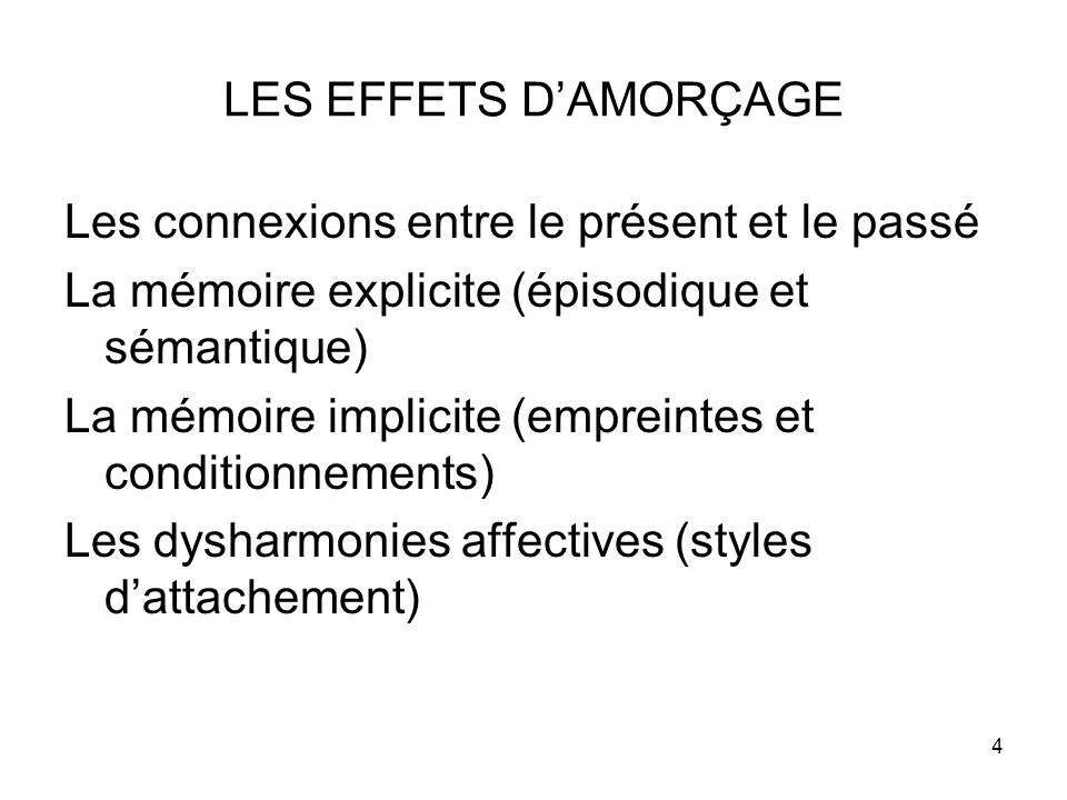 LES EFFETS D'AMORÇAGE Les connexions entre le présent et le passé. La mémoire explicite (épisodique et sémantique)