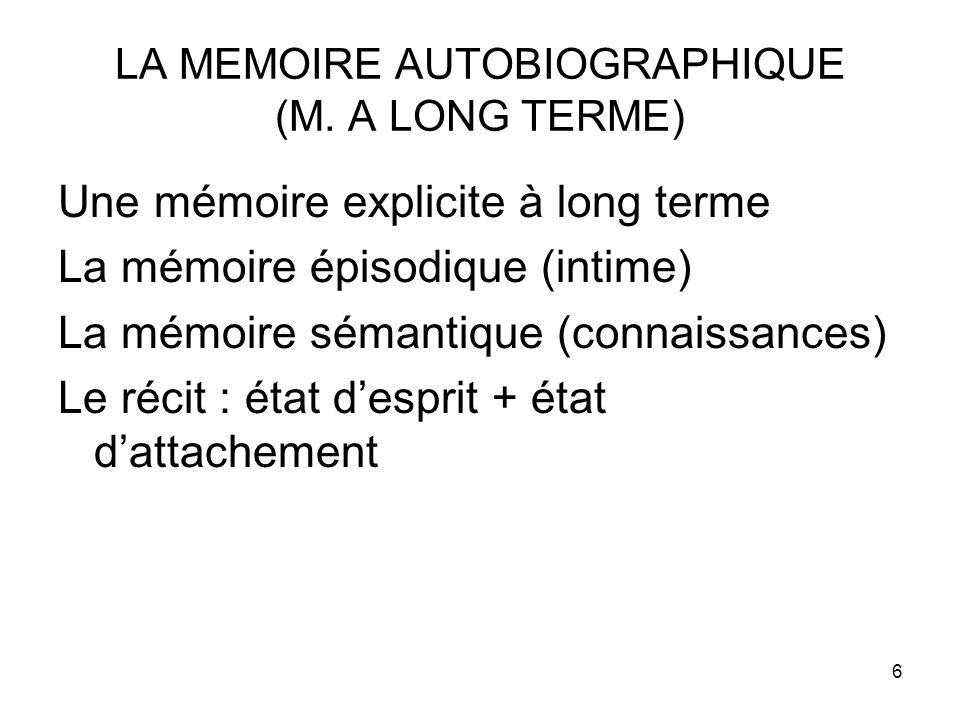 LA MEMOIRE AUTOBIOGRAPHIQUE (M. A LONG TERME)