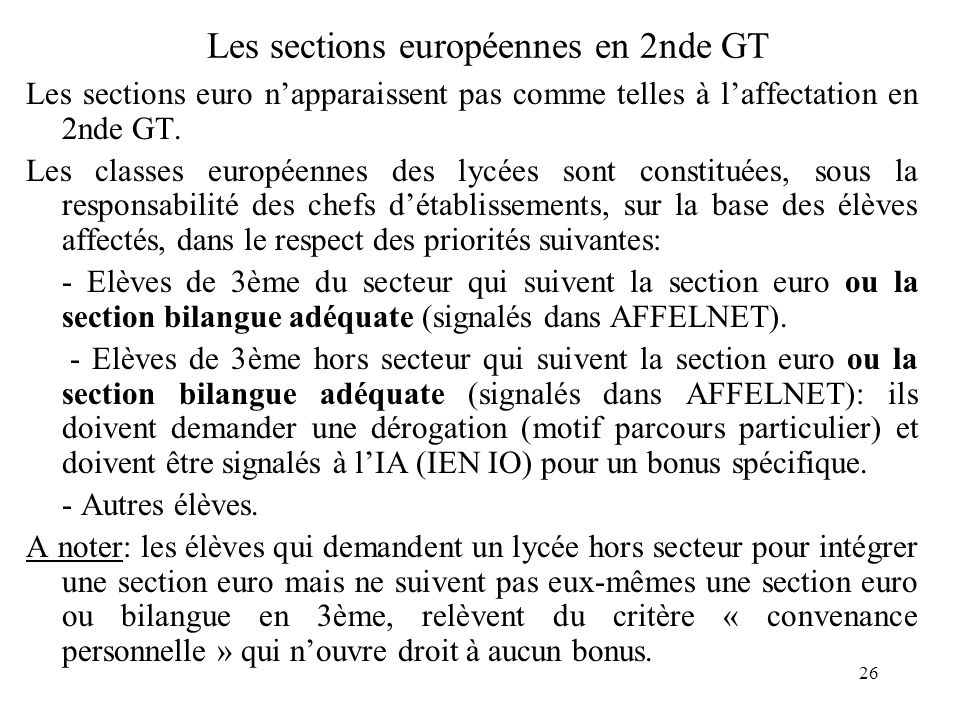 Les sections européennes en 2nde GT