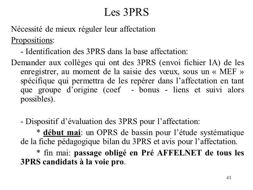 Les 3PRS Nécessité de mieux réguler leur affectation Propositions: