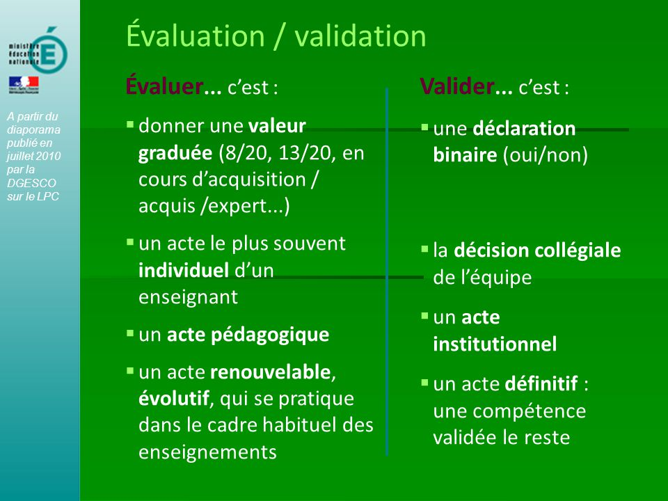 Évaluation / validation