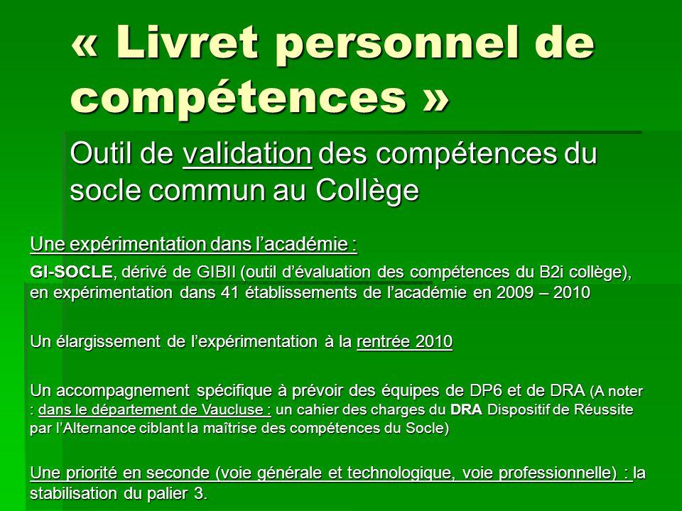« Livret personnel de compétences »