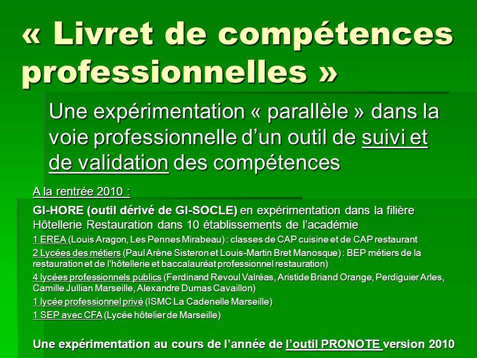 « Livret de compétences professionnelles »