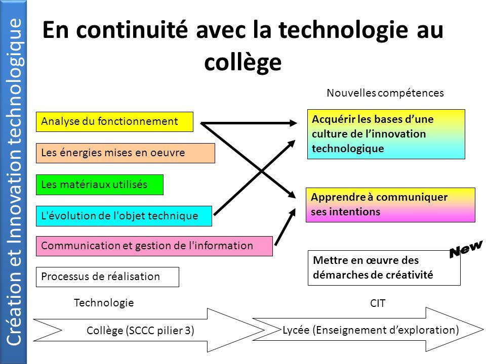 En continuité avec la technologie au collège