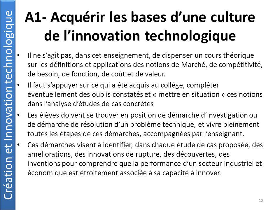 A1- Acquérir les bases d'une culture de l'innovation technologique