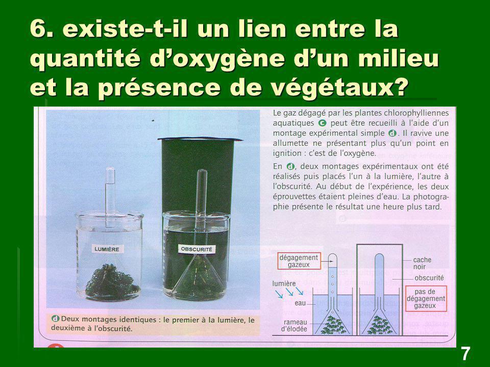 6. existe-t-il un lien entre la quantité d'oxygène d'un milieu et la présence de végétaux