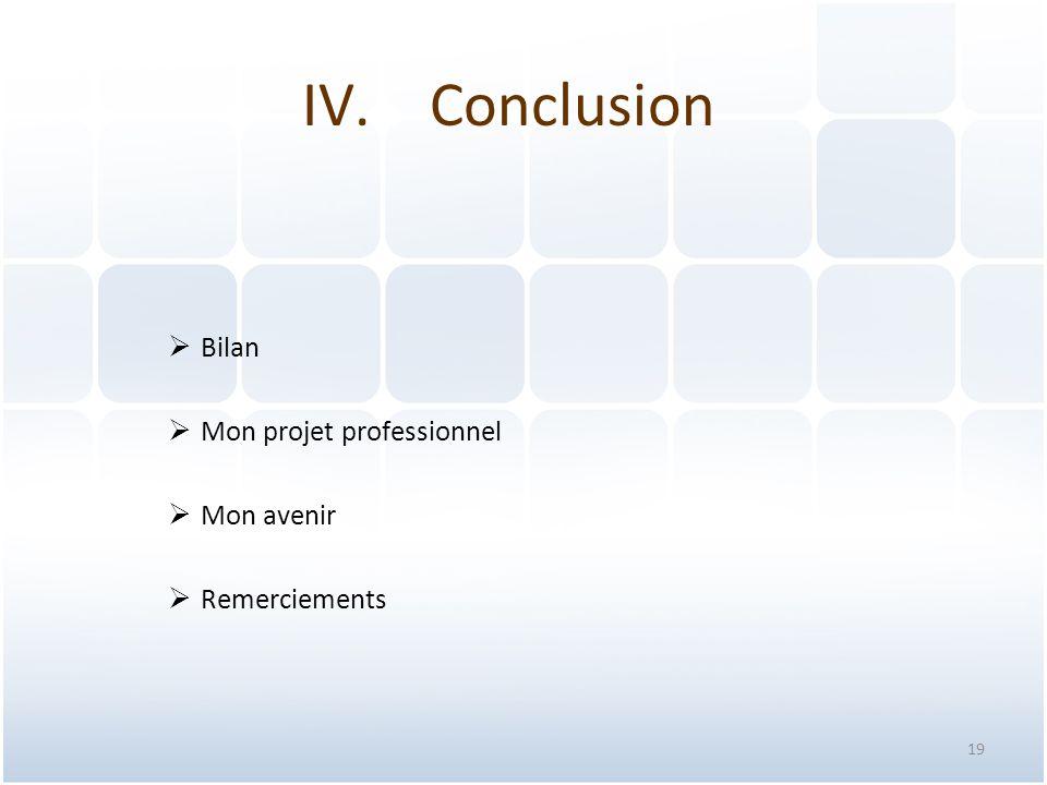 Conclusion Bilan Mon projet professionnel Mon avenir Remerciements