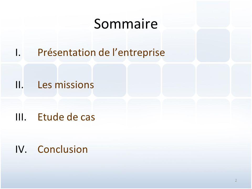 Sommaire Présentation de l'entreprise Les missions Etude de cas