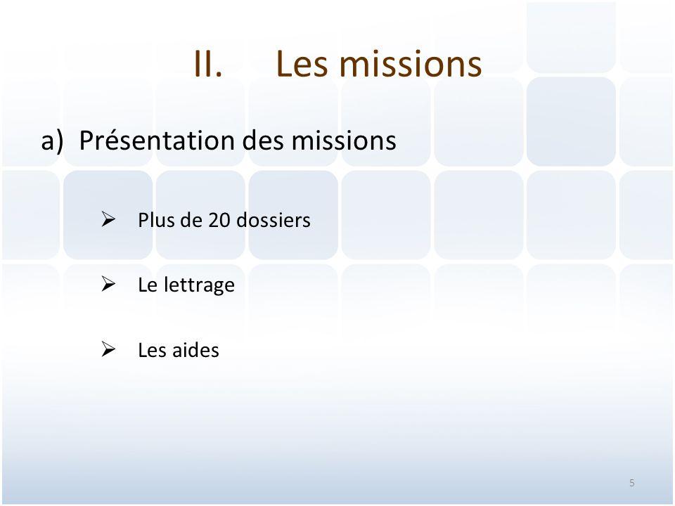 Les missions Présentation des missions Plus de 20 dossiers Le lettrage