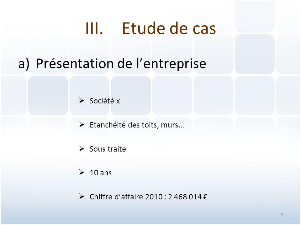 Etude de cas Présentation de l'entreprise Société x