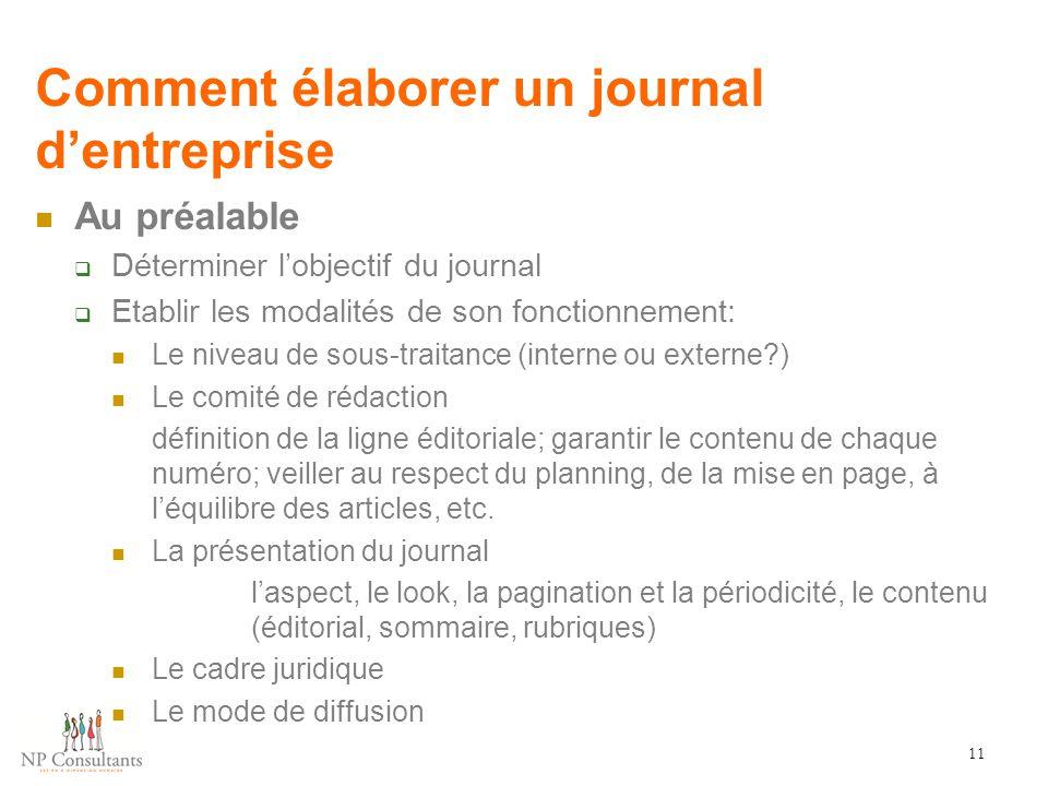 Comment élaborer un journal d'entreprise