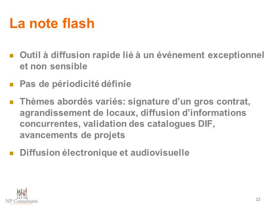 La note flash Outil à diffusion rapide lié à un événement exceptionnel et non sensible. Pas de périodicité définie.