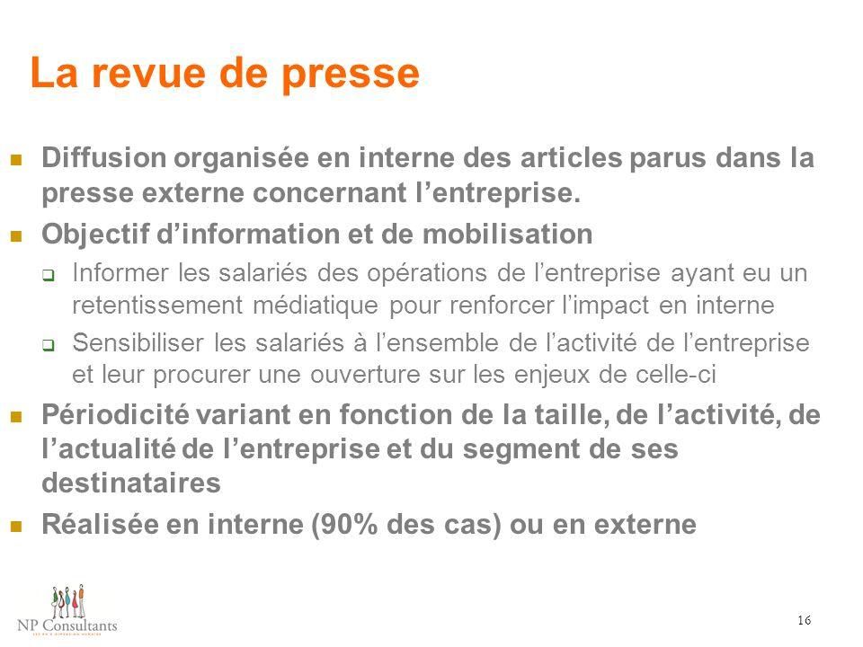 La revue de presse Diffusion organisée en interne des articles parus dans la presse externe concernant l'entreprise.