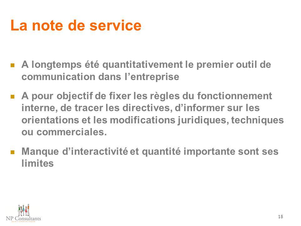 La note de service A longtemps été quantitativement le premier outil de communication dans l'entreprise.