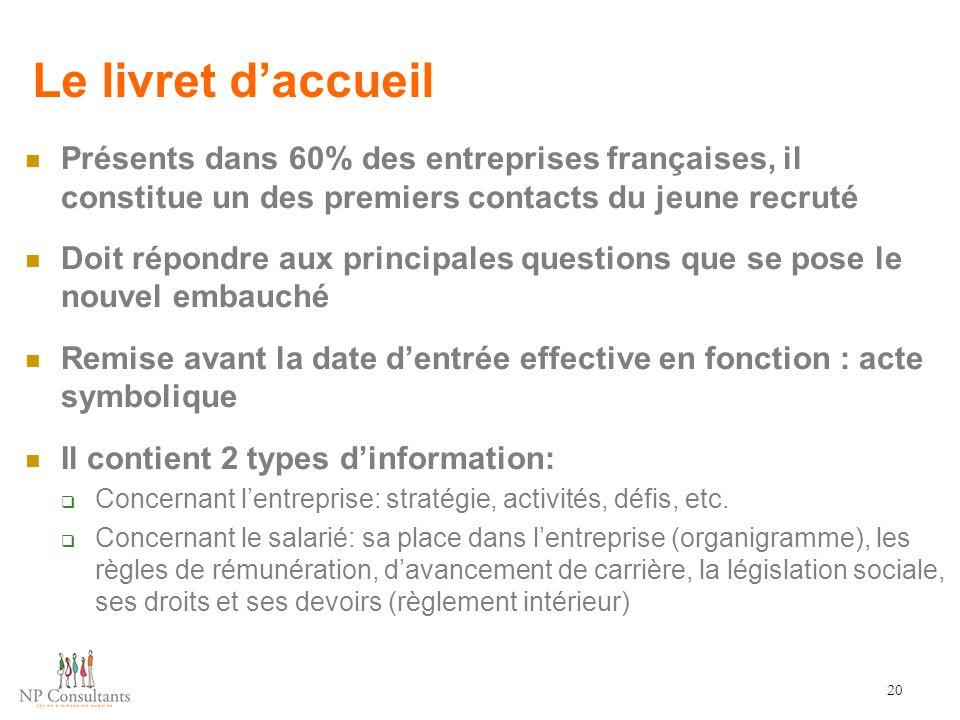 Le livret d'accueil Présents dans 60% des entreprises françaises, il constitue un des premiers contacts du jeune recruté.