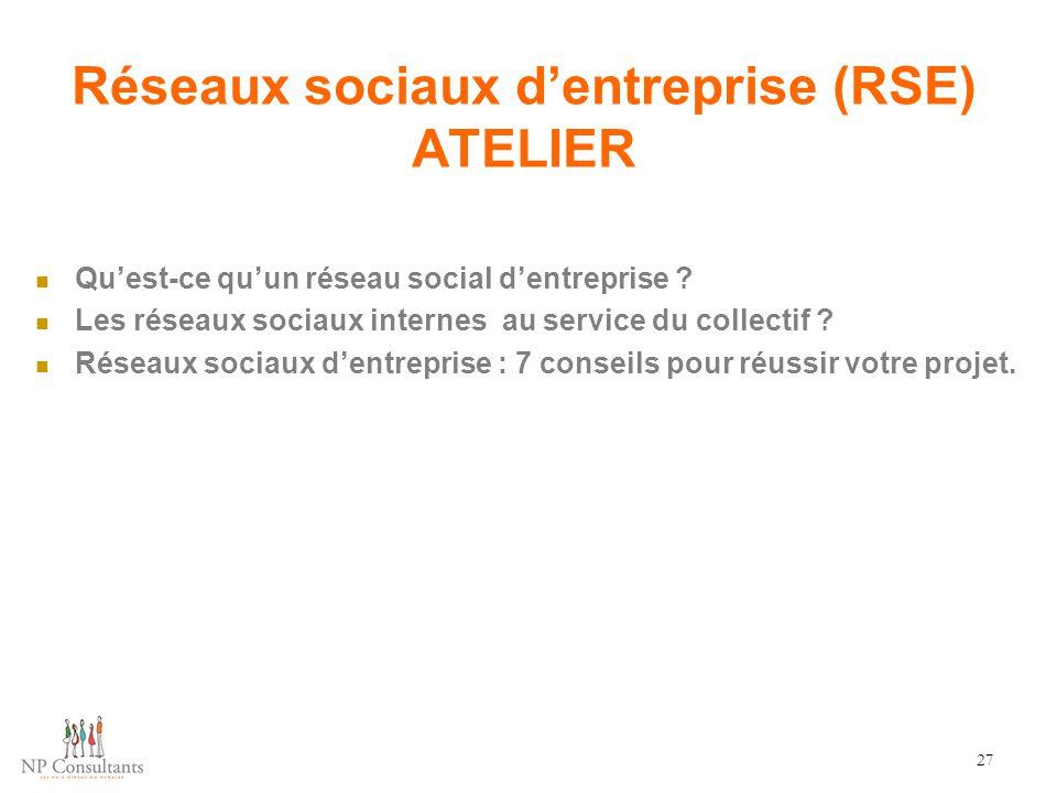 Réseaux sociaux d'entreprise (RSE) ATELIER
