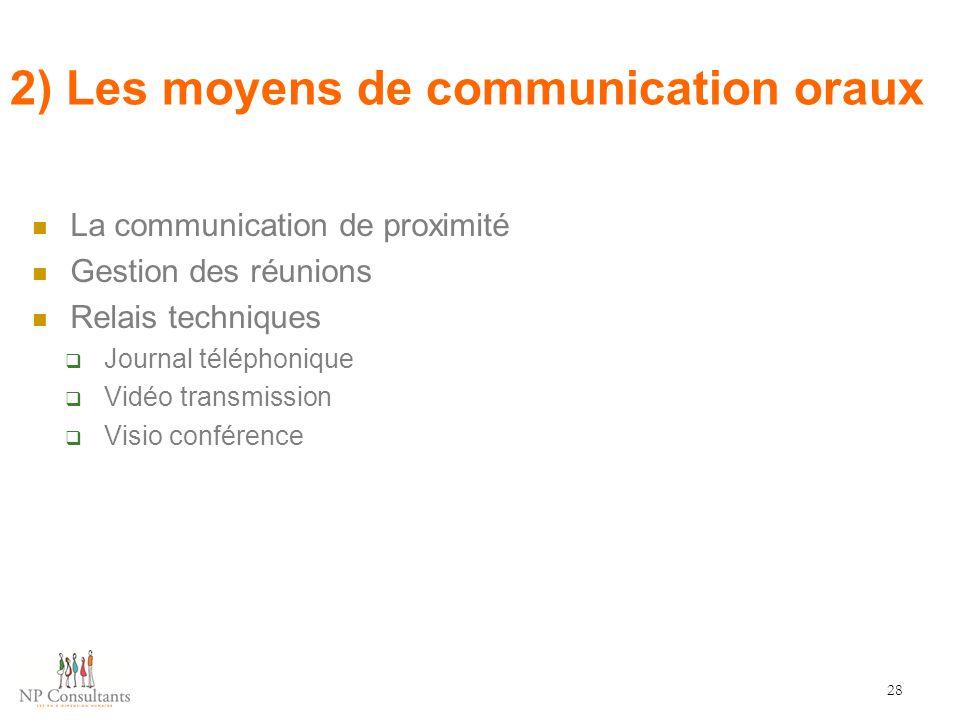 2) Les moyens de communication oraux