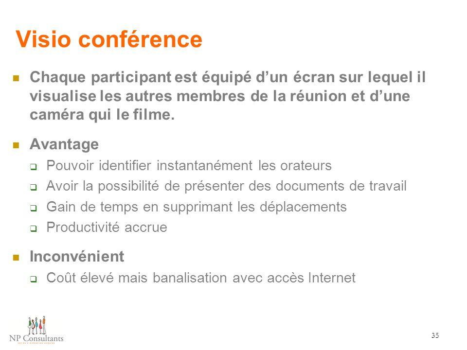 Visio conférence Chaque participant est équipé d'un écran sur lequel il visualise les autres membres de la réunion et d'une caméra qui le filme.