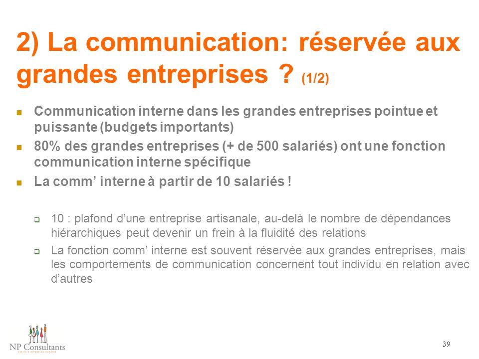 2) La communication: réservée aux grandes entreprises (1/2)