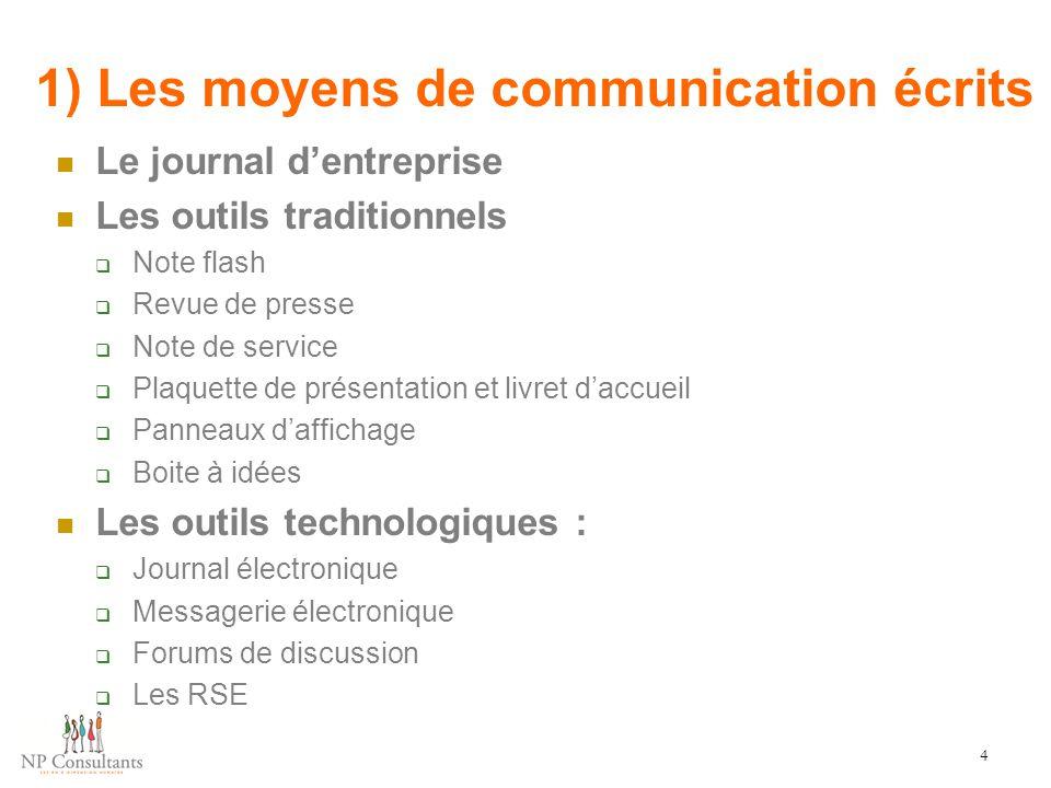 1) Les moyens de communication écrits
