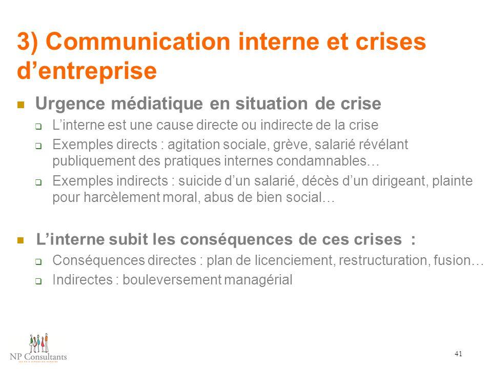 3) Communication interne et crises d'entreprise