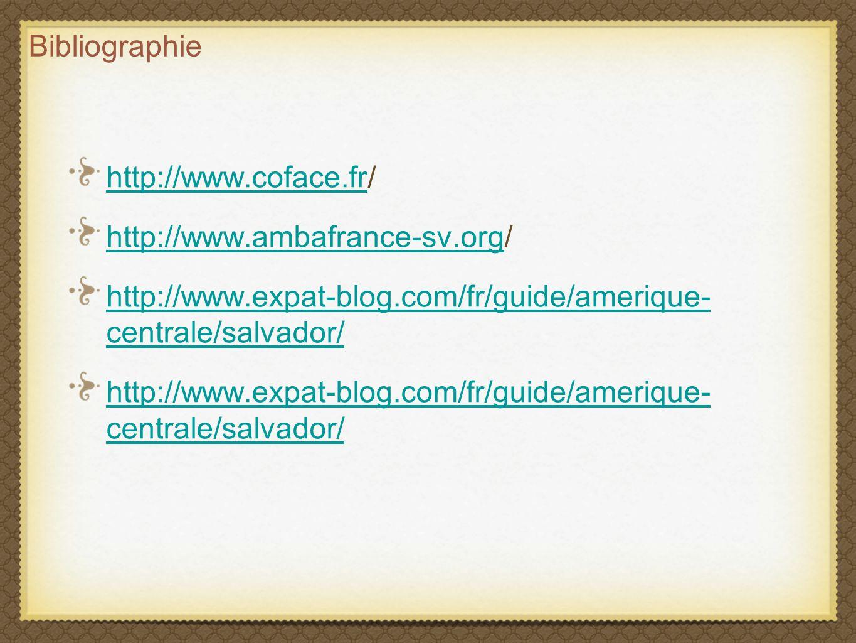 Bibliographie http://www.coface.fr/ http://www.ambafrance-sv.org/ http://www.expat-blog.com/fr/guide/amerique- centrale/salvador/