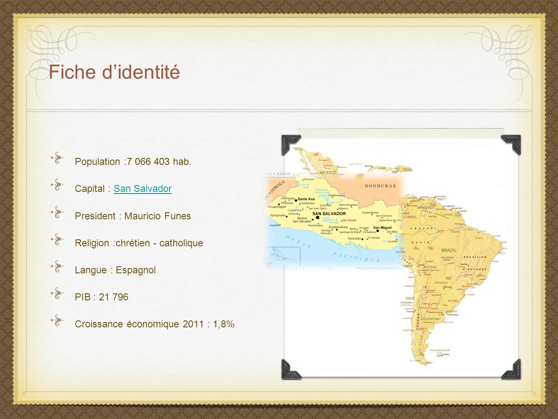 Fiche d'identité Population :7 066 403 hab. Capital : San Salvador