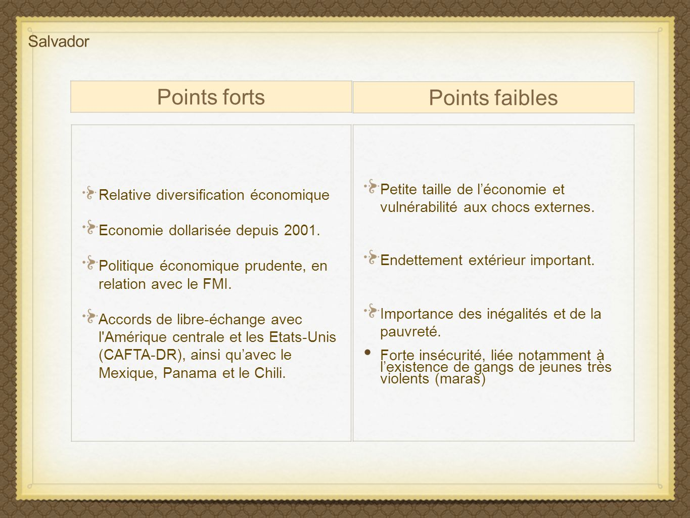 Points faibles Points forts Salvador
