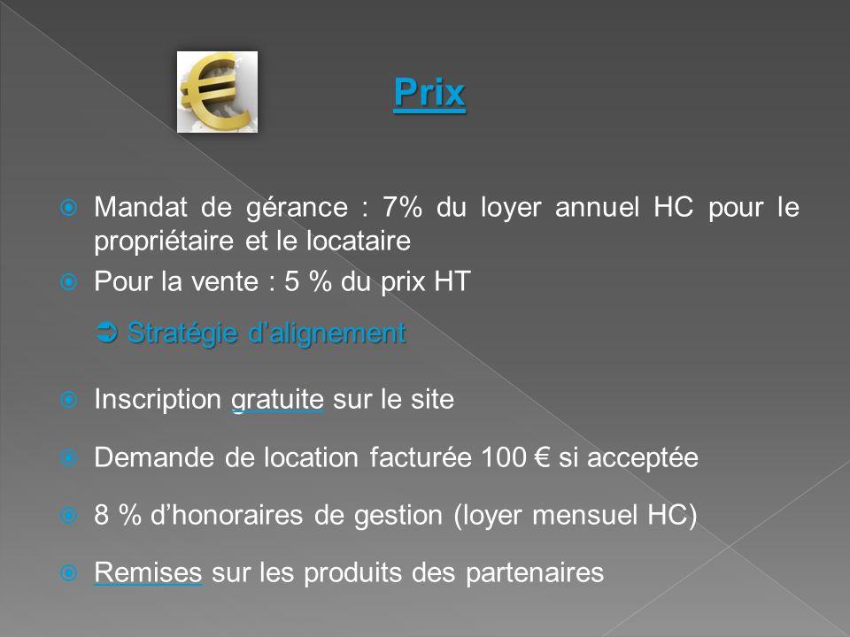 Prix Mandat de gérance : 7% du loyer annuel HC pour le propriétaire et le locataire. Pour la vente : 5 % du prix HT.