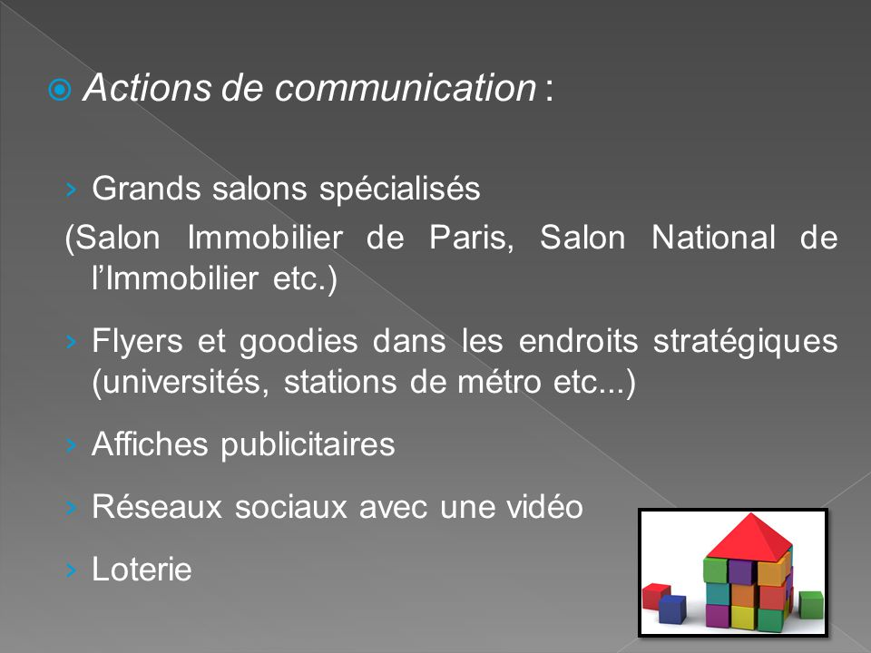 Actions de communication :
