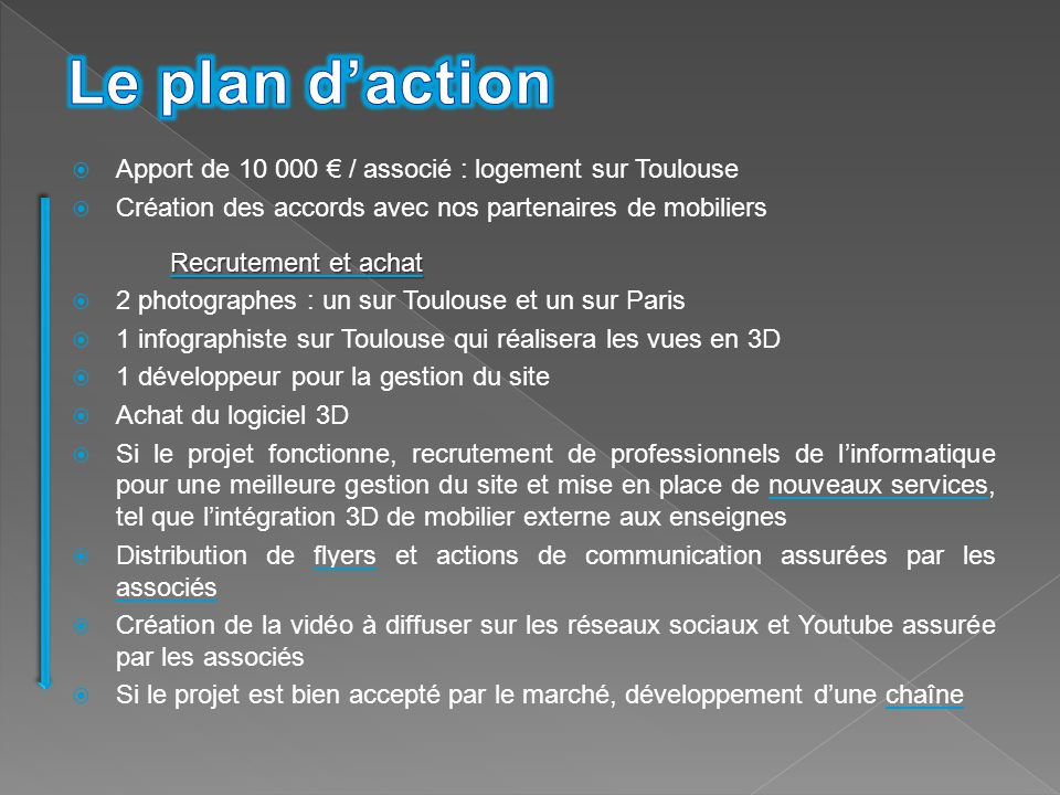 Le plan d'action Apport de 10 000 € / associé : logement sur Toulouse