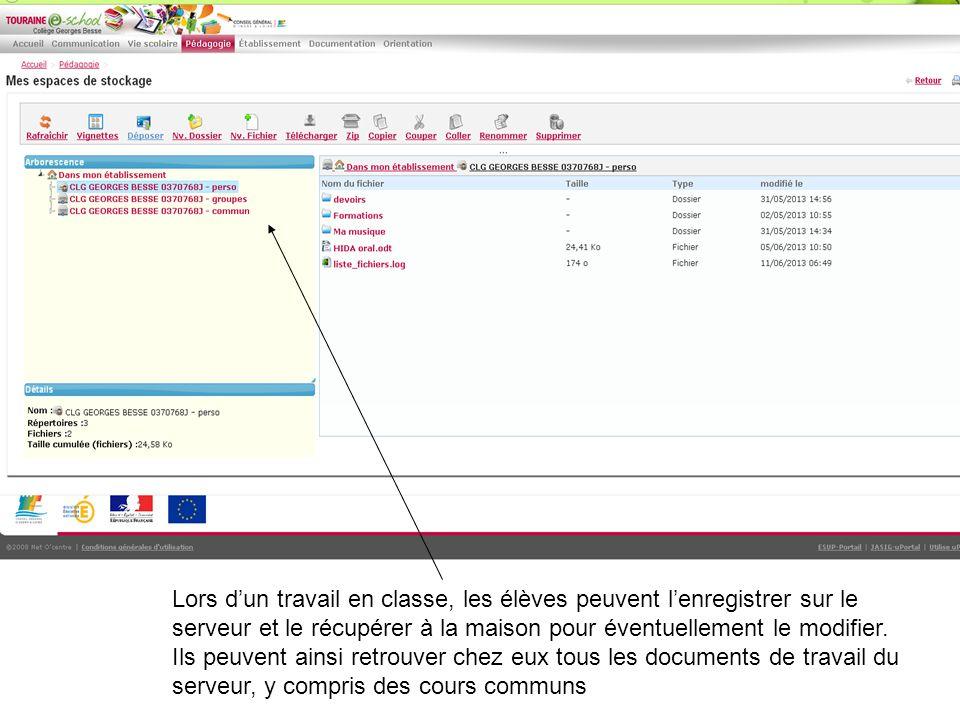 Lors d'un travail en classe, les élèves peuvent l'enregistrer sur le serveur et le récupérer à la maison pour éventuellement le modifier.