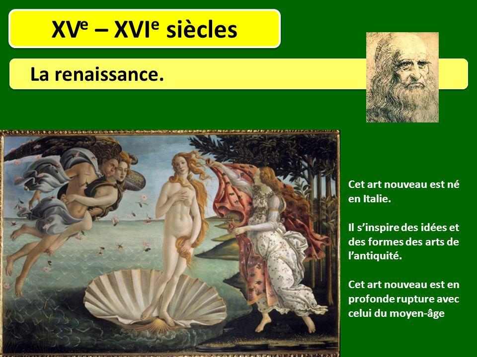 XVe – XVIe siècles La renaissance. Cet art nouveau est né en Italie.