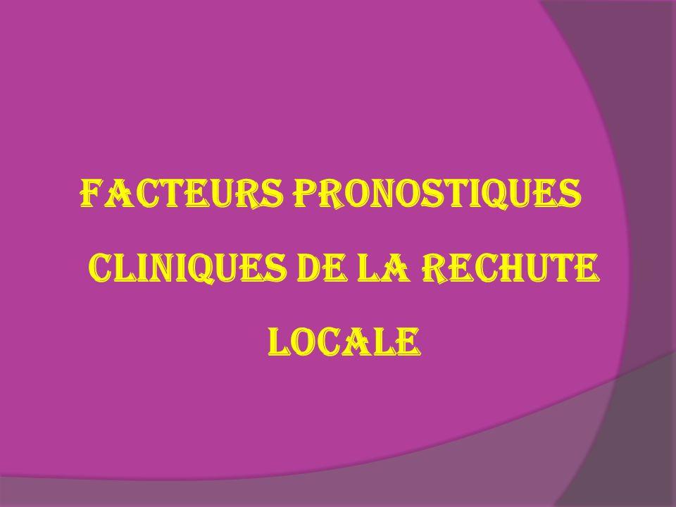 FACTEURS PRONOSTIQUES CLINIQUES DE LA RECHUTE LOCALE