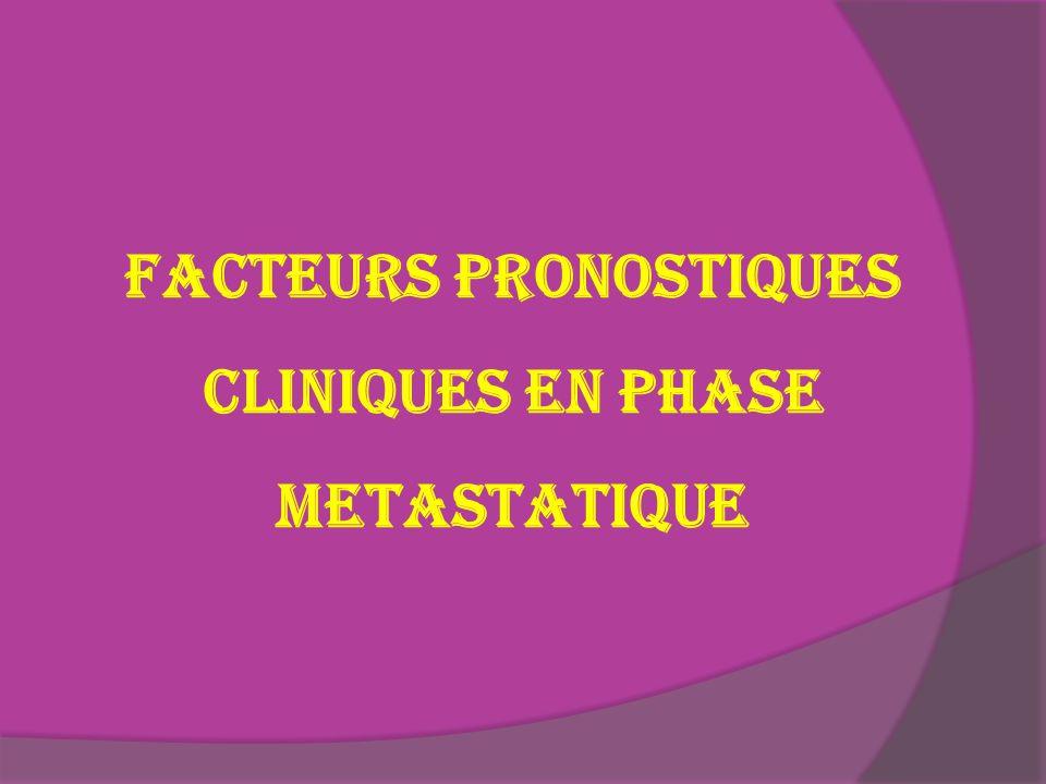 FACTEURS PRONOSTIQUES CLINIQUES EN PHASE METASTATIQUE