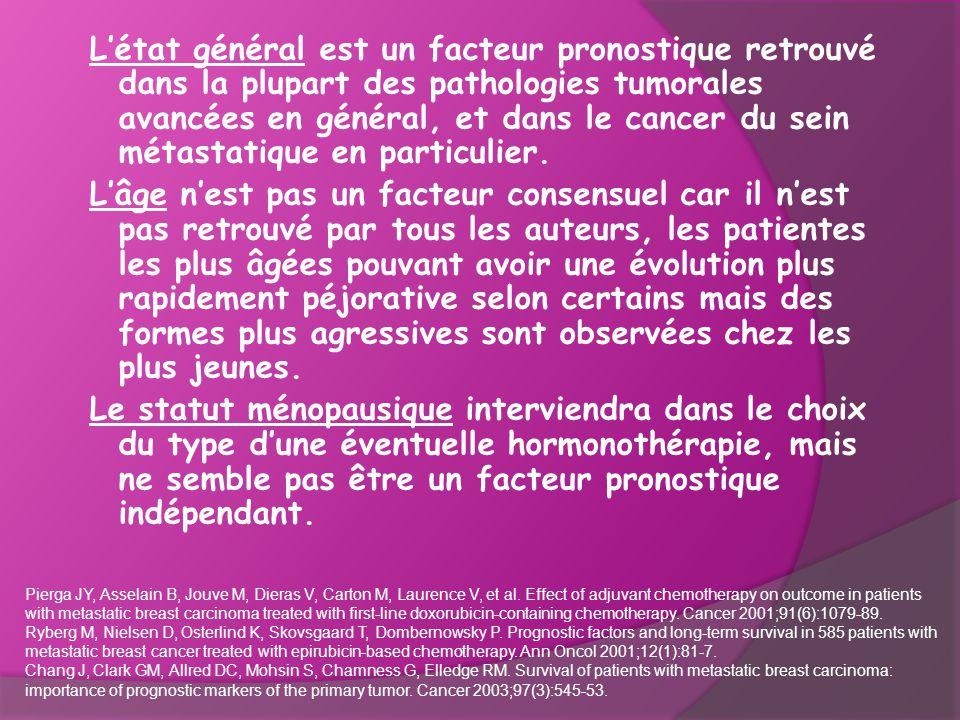 L'état général est un facteur pronostique retrouvé dans la plupart des pathologies tumorales avancées en général, et dans le cancer du sein métastatique en particulier.