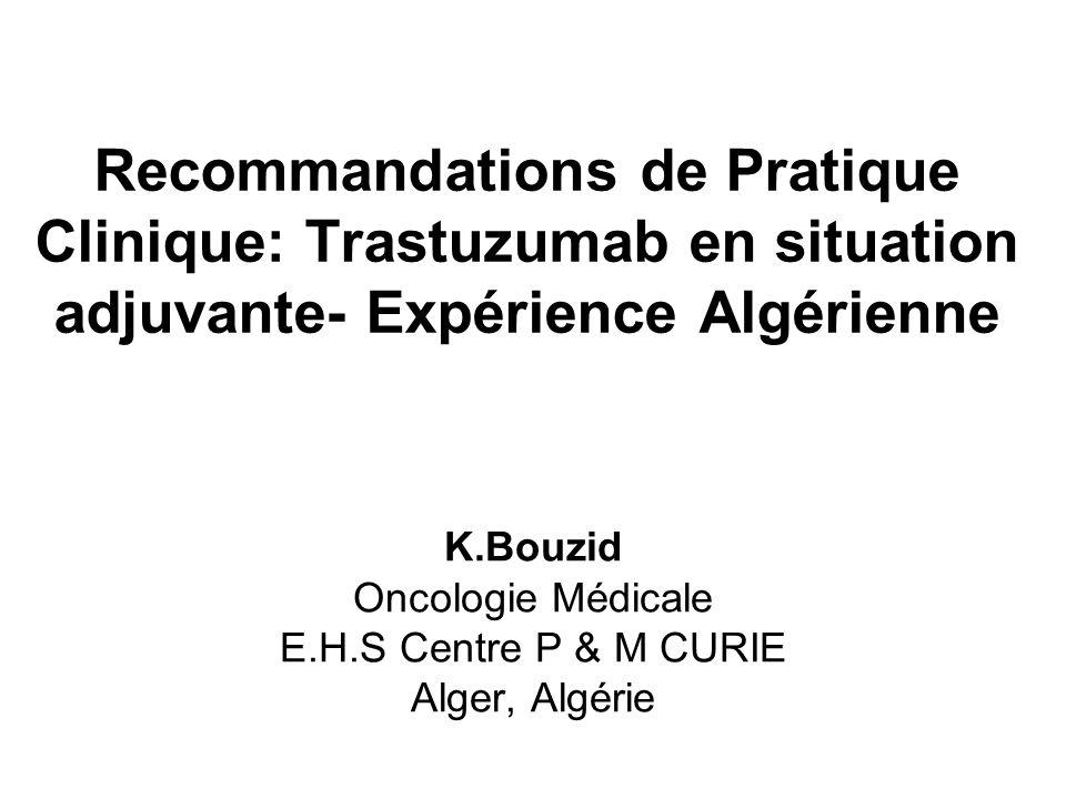 K.Bouzid Oncologie Médicale E.H.S Centre P & M CURIE Alger, Algérie