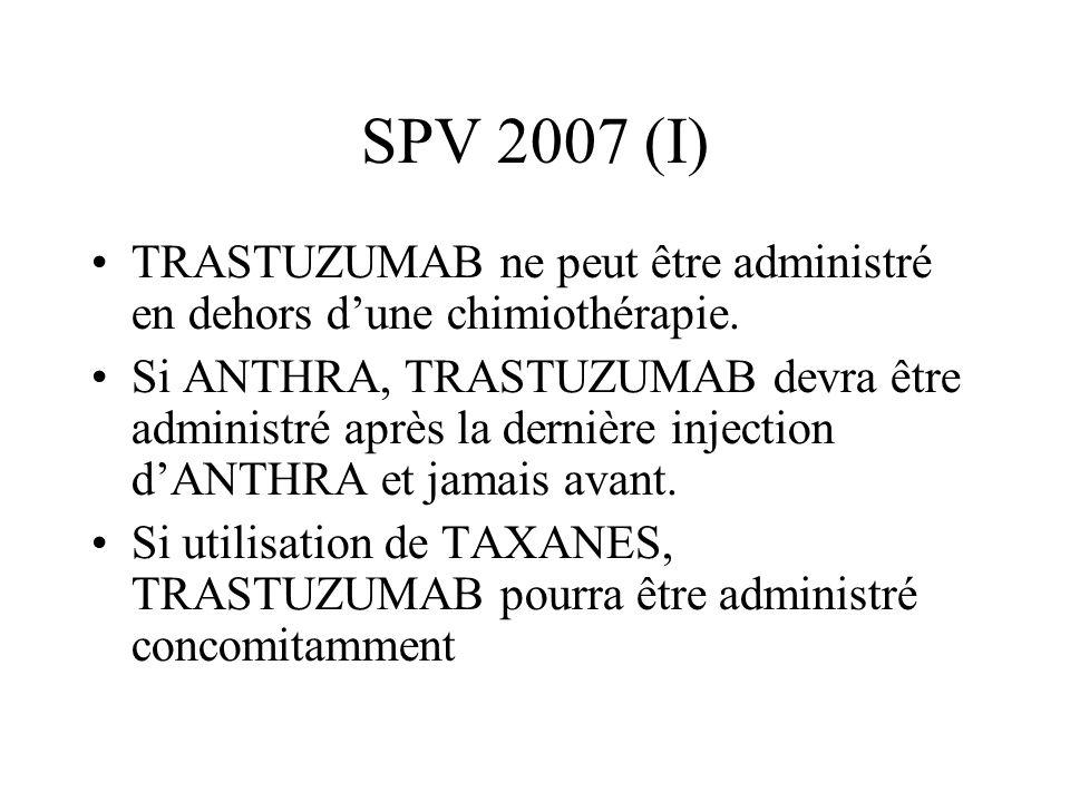 SPV 2007 (I) TRASTUZUMAB ne peut être administré en dehors d'une chimiothérapie.