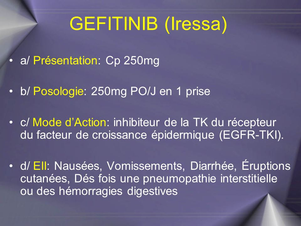 GEFITINIB (Iressa) a/ Présentation: Cp 250mg