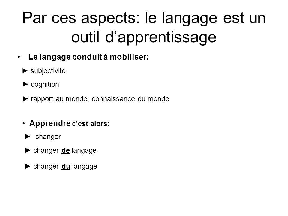 Par ces aspects: le langage est un outil d'apprentissage