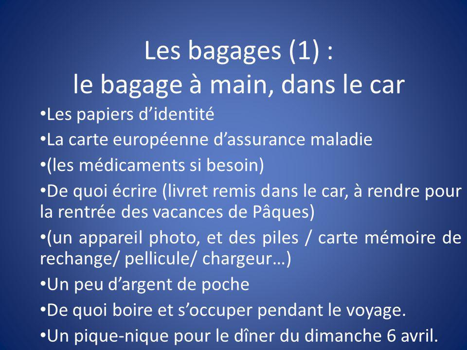 Les bagages (1) : le bagage à main, dans le car